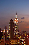 Vertical View of New York City Skyline at Sunset