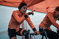 The Dutch Team warming up for the Women's U23 race<br /> <br /> UCI 2019 Cyclocross World Championships<br /> Bogense / Denmark<br /> <br /> ©kramon