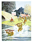 (Soldiers on manoeuvres run through a river where bathing is stricly forbidden)