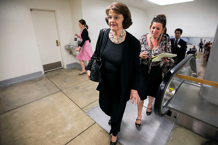 UNITED STATES - September 29: Sen. Diane Feinstein, D-Calif., arrives for the weekly Senate luncheons in the Capitol in Washington, on Tuesday, Sept. 29, 2015. (Photo By Al Drago/CQ Roll Call)