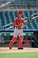 Washington Nationals catcher Geraldi Diaz (25) during an Instructional League game against the Miami Marlins on September 25, 2019 at Roger Dean Chevrolet Stadium in Jupiter, Florida.  (Mike Janes/Four Seam Images)