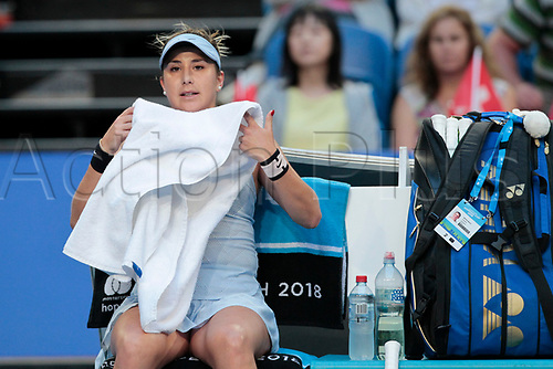 6th January 2018, Perth Arena, Perth, Australia; MasterCard Hopman Cup Tennis Final; Belinda Bencic of Team Switzerland takes a break between games during the first set of the Final