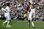 Real Madrid´s Cristiano Ronaldo, Marcelo Vieira and Isco celebrate a goal during 2014-15 La Liga match between Real Madrid and Eibar at Santiago Bernabeu stadium in Madrid, Spain. April 11, 2015. (ALTERPHOTOS/Luis Fernandez)