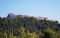 View from Domaine de la Tour du Bon the hilltop village Le Castellet perched on a mountain top Domaine de la Tour du Bon Le Castellet Bandol Var Cote d'Azur France