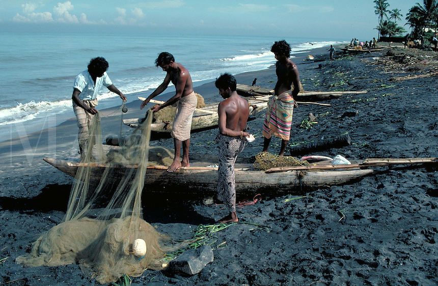 On the Sri Lankan coast, in the fishing village of Palliyawadda, survival is determined by the sea. Working from homemade boats, local fishermen toil long hours to provide for their families. Repairing fishnets is a daily task. Fishing is often a f family