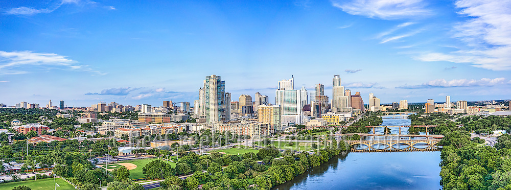 We capture this aerial Austin Skyline along Lady Bird Lake with the downtown area including the Texas Capital and the UT Tower in this Panorama.  The one day where we saw the sun come out in some time.  This image capture the view down Lady Bird Lake with the Lamar bridge, all the way to Congress with the city along the shoreline. We were able to capture this high quality aerial image because we use a full frame camera on our drone for out still photographs so we can get the best image which can be printed easlity as a 20 x 60 or larger size without loss of resolution.​