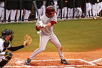NASHVILLE, TENNESSEE-Feb. 25, 2011:  Ben Clowe of Stanford prepares to hit against Sonny Gray of Vanderbilt, during a game at Vanderbilt University in Nashville, Tennessee.  Vanderbilt defeated Stanford 2-1.