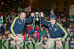 Milltown/Castlemaine captain Damian Murphy and manager John Fintan Daly  celebrate with the crowd that gathered for the home coming in Milltown on Monday night