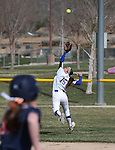 Wildcats' Katilyn Covione tracks down a hit during a college softball game against Snow College at Edmonds Sports Complex in Carson City, Nev., on Friday, March 6, 2014. <br /> Photo by Cathleen Allison/Nevada Photo Source