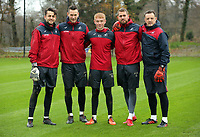 (L-R) Lukasz Fabianski, Erwin Mulder, unknown player, Kristoffer Nordfeldt and Tony Roberts, goalkeeping coach pose for a picture during the Swansea City Training at The Fairwood Training Ground, Swansea, Wales, UK. Wednesday 22 November 2017