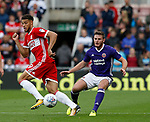 Rudy Gestede of Middlesbrough and Jack O'Connell of Sheffield Utd during the Championship match at the Riverside Stadium, Middlesbrough. Picture date: August 12th 2017. Picture credit should read: Simon Bellis/Sportimage