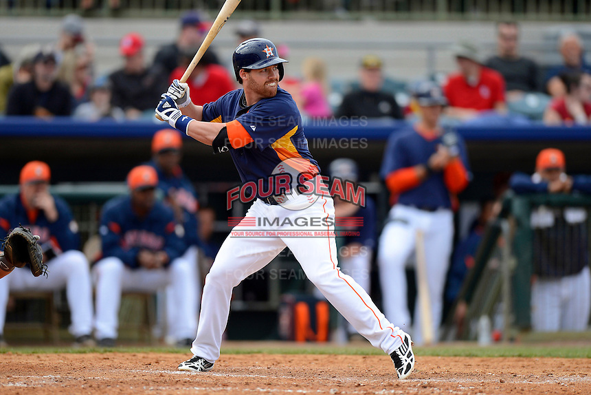 Houston Astros shortstop Jake Elmore #10 during a Spring Training game against the St. Louis Cardinals at Osceola County Stadium on March 1, 2013 in Kissimmee, Florida.  The game ended in a tie at 8-8.  (Mike Janes/Four Seam Images)