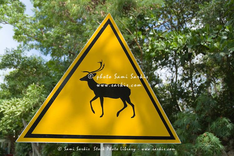 Deer crossing' road sign at Parque Retiro Josone, Varadero, Cuba.