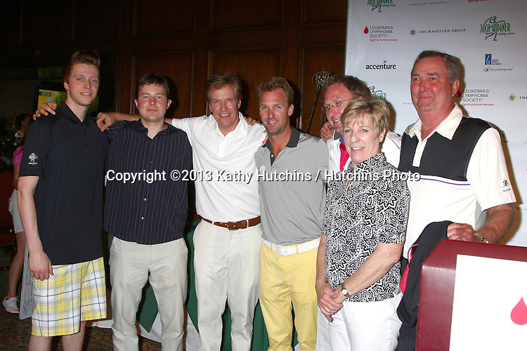LOS ANGELES - APR 15:  Jack Wagner, with sons Harrison and Peter, His brother Dennis Wagner and family at the Jack Wagner Celebrity Golf Tournament benefitting the Leukemia & Lymphoma Society at the Lakeside Golf Club on April 15, 2013 in Toluca Lake, CA