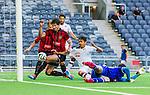 Stockholm 2014-07-31 Fotboll Europa League IF Brommapojkarna - Torino FC :  <br /> Torinos Paulo Barreto p&aring; v&auml;g att g&ouml;ra 0-3 i kamp om bollen med Brommapojkarnas m&aring;lvakt Davor Blazevic och Gabriel Petrovic <br /> (Foto: Kenta J&ouml;nsson) Nyckelord:  BP Brommapojkarna IFB Tele2 Arena Europa League Torino FC TFC Italien Itay