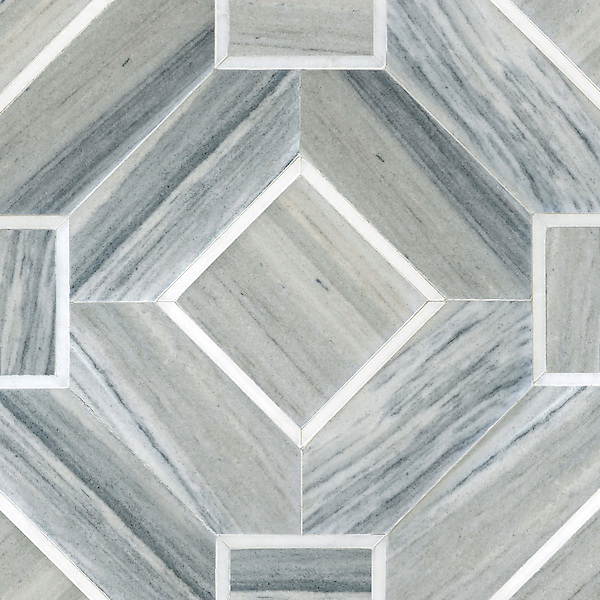 Almeria, a handmade mosaic shown in Venetian honed Horizon Dark and polished Afyon White. Designed by Paul Schatz for New Ravenna.<br />