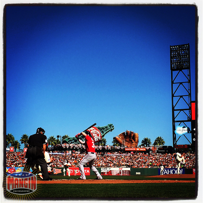 SAN FRANCISCO, CA - OCTOBER 6: Instagram of Bryce Harper of the Washington Nationals batting during Game 3 of the NLDS against the San Francisco Giants at AT&T Park on October 6, 2014 in San Francisco, California. Photo by Brad Mangin