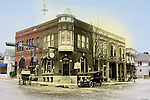 Composite image of the Bank of Memories Flower shop and the original image of the Citizens State Bank in early 1900s Menomonee Falls WI
