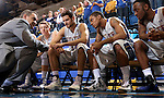 BROOKINGS, SD - JANUARY 31:  South Dakota State University head coach Scott Nagey talks to his team on the bench before the opening tip against Denver Saturday afternoon at Frost Arena in Brookings. (Photo by Dave Eggen/Inertia)