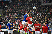 February 1st 2019, St Denis, Paris, France: 6 Nations rugby tournament, France versus Wales;  Yoann Huget (fr) competes with Gareth Anscombe for the kick forward