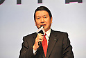 February 24, 2011 - Tokyo, Japan - Ryuji Yamada, president and CEO of NTT Docomo, speaks at presentation in Tokyo where the company unveils three new smartphone models: the XPERIA, the Medias and the Optimus. (Photo by Koichi Mitsui/AFLO)