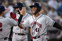 Lancaster JetHawks Luis Castro (41) is congratulated by Matt Hearn (2) after hitting a home run during a California League game against the Lake Elsinore Storm on September 2, 2019 at The Diamond in Lake Elsinore, California. Lake Elsinore defeated Lancaster 4-3. (Zachary Lucy/Four Seam Images)