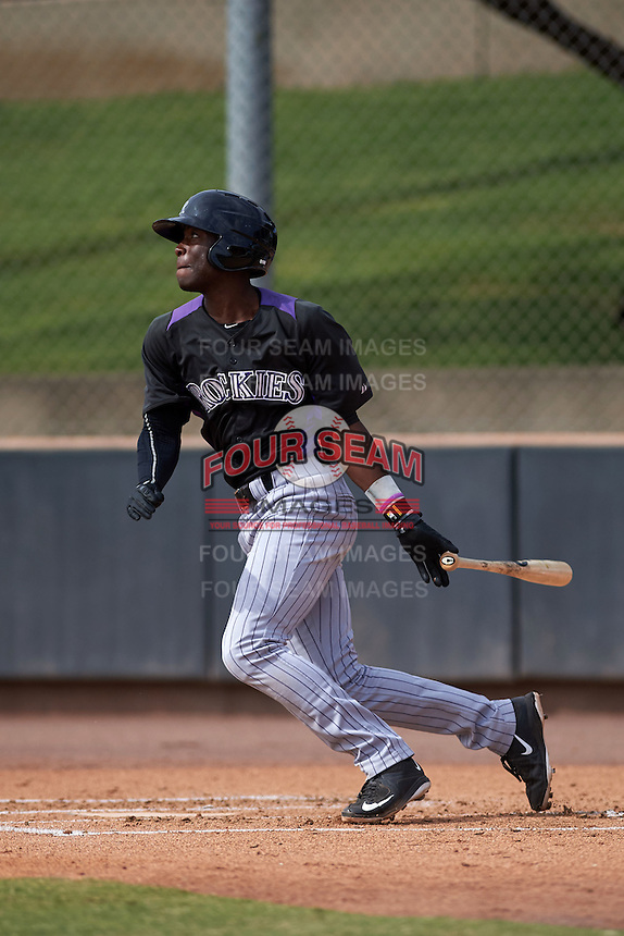 Colorado Rockies Mylz Jones (10) during an instructional league game against the SK Wyverns on October 10, 2015 at the Salt River Fields at Talking Stick in Scottsdale, Arizona.  (Mike Janes/Four Seam Images)