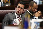 Nevada Sen. Ruben Kihuen, D-Las Vegas, works on the Senate floor at the Legislative Building in Carson City, Nev., on Friday, April 3, 2015. <br /> Photo by Cathleen Allison
