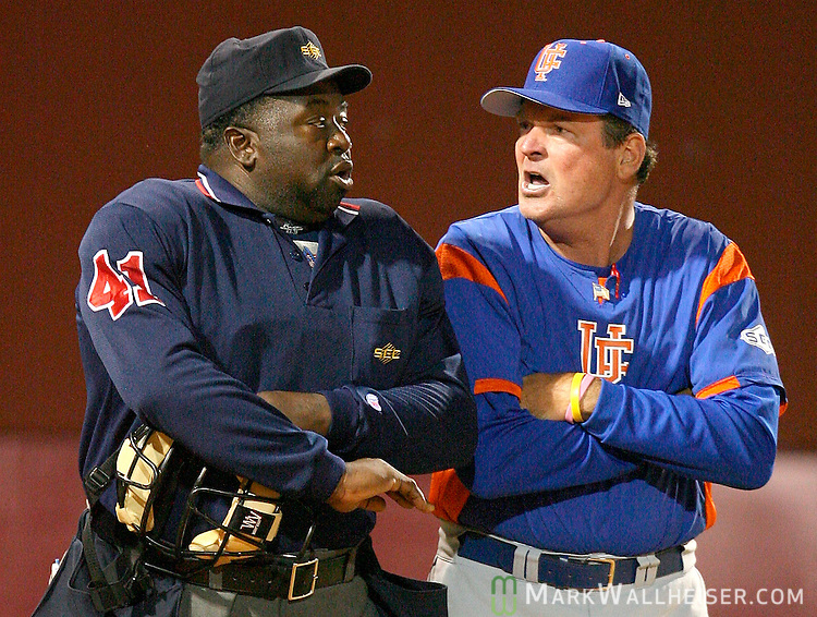 University of Florida head coach Pat McMahon, right, argues a balk call with home plate umpire Randy Harvey in the bottom of the seventh inning of the Gators 5-4 win over Florida State in Tallahassee Wednesday April 18, 2007.  (Mark Wallheiser/TallahasseeStock.com)