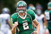 October 2, 2010:   Jacksonville Dolphins quarterback Josh McGregor (2) celebrates after throwing a touchdown pass during Pioneer Football League action between the San Diego Toreros and Jacksonville University Dolphins at D. B. Milne Field in Jacksonville, Florida.  Jacksonville defeated San Diego 35-28.