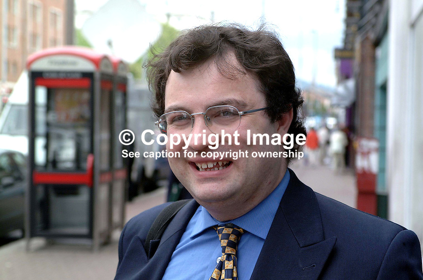 Stephen Farry, N Ireland Alliance Party candidate for North Down, in June 2001 UK General Election. He later withdrew in favour of another Pro-Agreement candidate, Lady Sylvia Hermon, an Ulster Unionist. Her principal opponent is UK Unionist candidate, Robert McCartney. Ref: 2001051892.Major Robert Stephens, former Administrative Officer, Hillsborough Castle, N Ireland, the official residence of visiting royals.<br />