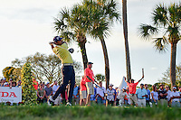 Anirban Lahiri (IND) watches his tee shot on 17 during round 3 of the Honda Classic, PGA National, Palm Beach Gardens, West Palm Beach, Florida, USA. 2/25/2017.<br /> Picture: Golffile | Ken Murray<br /> <br /> <br /> All photo usage must carry mandatory copyright credit (&copy; Golffile | Ken Murray)
