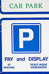 Close up of Pay and Display car park sign, Suffolk, England, UK