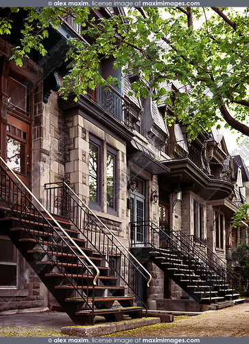 Row of historic townhouses, French style architecture houses, on Avenue Laval in Montreal, Quebec, Canada. L'avenue Laval, Ville de Montréal, Québec, Canada. Spring 2017.