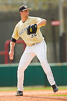 Wake Forest Demon Deacons starting pitcher Justin Van Grouw #30 in action against the North Carolina State Wolfpack at Doak Field at Dail Park on March 17, 2012 in Raleigh, North Carolina.  The Wolfpack defeated the Demon Deacons 6-2.  (Brian Westerholt/Four Seam Images)