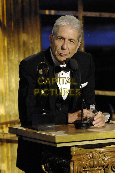 Leonard Cohen at the Rock &amp; Roll Hall of Fame 23rd Annual Induction Ceremony at the Waldorf-Astoria Hotel in New York City on March 10, 2008<br /> CAP/MPIDA<br /> &copy;MPIDA/Capital Pictures