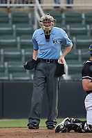 Home plate umpire Mike Snover during the South Atlantic League game between the Hickory Crawdads and the Kannapolis Intimidators in game one of a double-header at Kannapolis Intimidators Stadium on May 19, 2017 in Kannapolis, North Carolina.  The Crawdads defeated the Intimidators 5-4.  (Brian Westerholt/Four Seam Images)