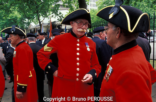 Grande Bretagne, Angleterre, Londres, pensionnés de Chelsea (Royal Hospital Chelsea)//Great Britain, England, London, Chelsea pensioners, (Royal Hospital Chelsea)