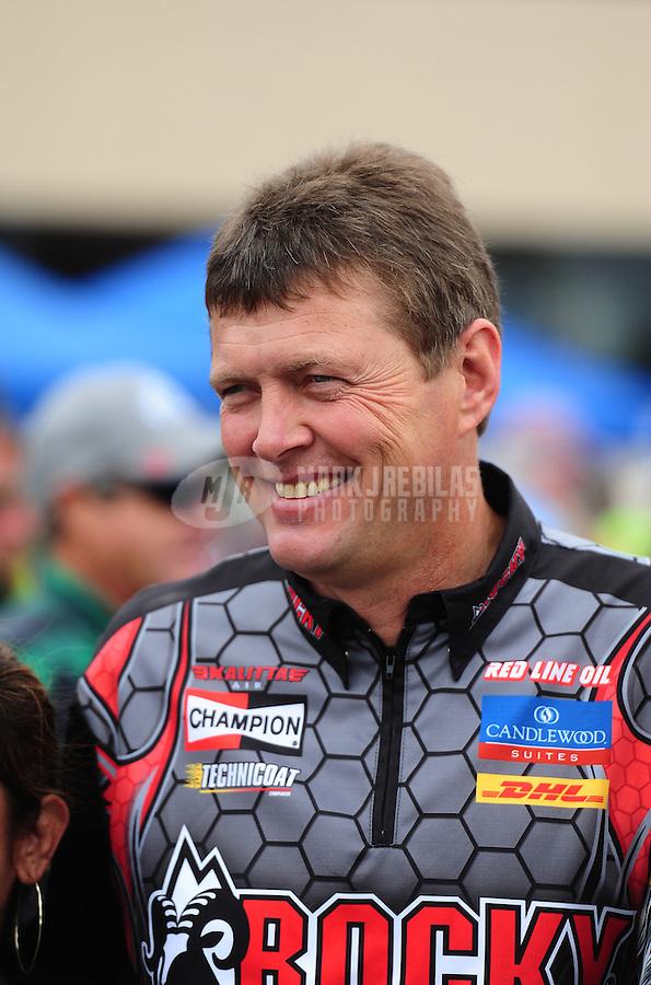Jul. 31, 2011; Sonoma, CA, USA; NHRA top fuel dragster driver David Grubnic during the Fram Autolite Nationals at Infineon Raceway. Mandatory Credit: Mark J. Rebilas-