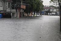 SAO PAULO, SP, 18-02-2013, CHUVA, ALAGAMENTO E QUEDAS DE ARVORES.  Sao Paulo teva na tarde dessa Segunda-feira uma tarde de caus. Uma frte tempestade caiu sobre toda cidade. Na foto a regiao da Av. Paes de Barros que ficou totalmente alagada.  Luiz Guarnieri/ Brazil Photo Press.