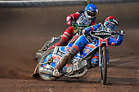 Heat 6 Brady Kurtz of Poole Pirates leads Kacper Woryna of Poole Pirates during Poole Pirates vs Belle Vue Aces, Elite League Speedway at The Stadium on 11th April 2018