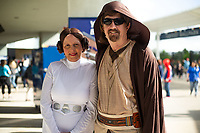 Fans dress as Star Wars characters on May 4, 2019, at Arvest Ballpark in Springdale, Arkansas. (Jason Ivester/Four Seam Images)