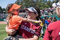 STANFORD, CA -- April 15, 2018. <br /> Alyssa Horeczko with fan after the Stanford Cardinal women's softball team loss to the Oregon State Beavers at the Smith Family Stadium 12-1.