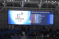 OLYMPIC GAMES: PYEONGCHANG: 23-02-2018, Gangneung Oval, Long Track, Final results 1000m Men, ©photo Martin de Jong