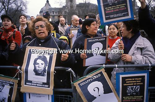 Anti Pinochet demonstration Parliament square London England 1999
