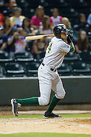 Jose Martinez (24) of the Lynchburg Hillcats follows through on his swing against the Winston-Salem Dash at BB&T Ballpark on August 13, 2014 in Winston-Salem, North Carolina.  The Hillcats defeated the Dash 4-3.   (Brian Westerholt/Four Seam Images)