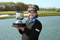 Luke Toomey celebrates with the DVS Pegasus Open Trophy. Jennian Homes Charles Tour, Pegasus Open, Christchurch, New Zealand, Sunday 6 October 2019. Photo Martin Hunter/www.bwmedia.co.nz