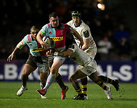 Harlequins' Dave Ward in action during todays match<br /> <br /> Photographer Bob Bradford/CameraSport<br /> <br /> European Rugby Challenge Cup - Harlequins v Wasps - Sunday 13th January 2018 - Twickenham Stoop - London<br /> <br /> World Copyright &copy; 2018 CameraSport. All rights reserved. 43 Linden Ave. Countesthorpe. Leicester. England. LE8 5PG - Tel: +44 (0) 116 277 4147 - admin@camerasport.com - www.camerasport.com
