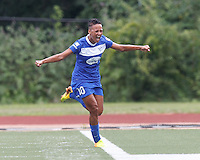 Boston Breakers forward Lianne Sanderson (10) celebrates her goal. In a National Women's Soccer League (NWSL) match, Portland Thorns FC (white) defeated Boston Breakers (blue), 2-1, at Dilboy Stadium on July 21, 2013.