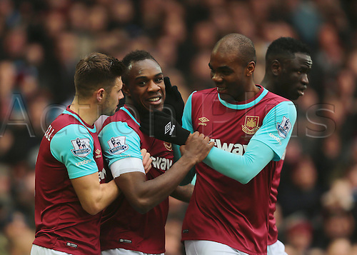 27.02.2016. Boleyn Ground, London, England. Barclays Premier League. West Ham versus Sunderland. West Ham United Midfielder Michail Antonia (centre) celebrates giving West Ham a 1-0 lead, joined by  West Ham United Defender Aaron Creswell, West Ham United Midfielder Cheikhou Kouyate and West Ham United Defender Angelo Ogbonna